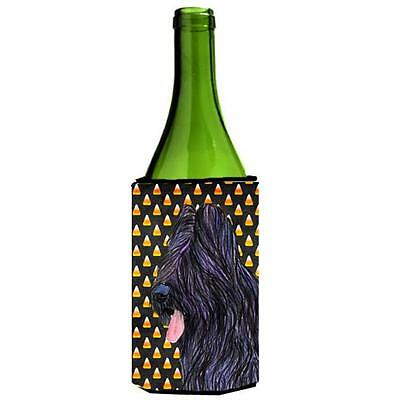 Briard Candy Corn Halloween Portrait Wine bottle sleeve Hugger 24 Oz.
