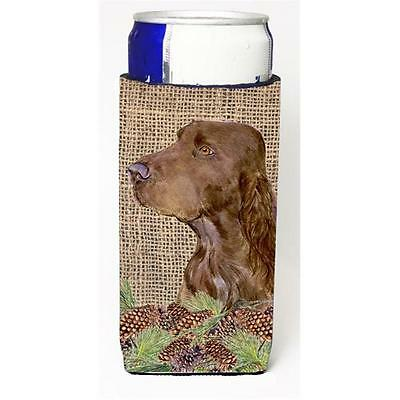 Field Spaniel On Faux Burlap With Pine Cones Michelob Ultra bottle sleeve for...