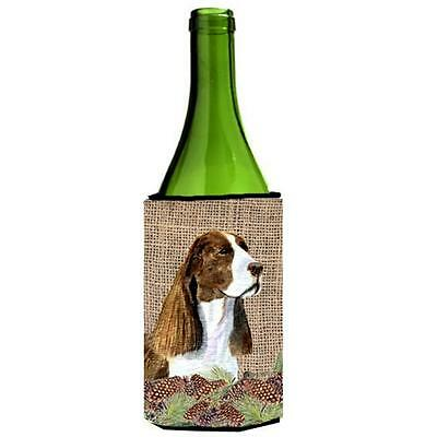 Springer Spaniel On Faux Burlap With Pine Cones Wine bottle sleeve Hugger 24 oz.
