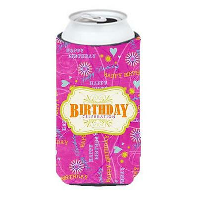 Happy Birthday Pink Tall Boy bottle sleeve Hugger 22 To 24 oz.