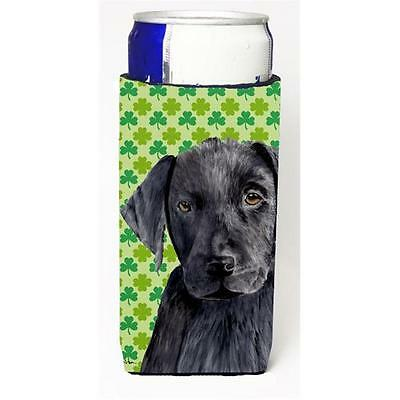 Labrador Black St. Patricks Day Shamrock Portrait Michelob Ultra bottle sleev...