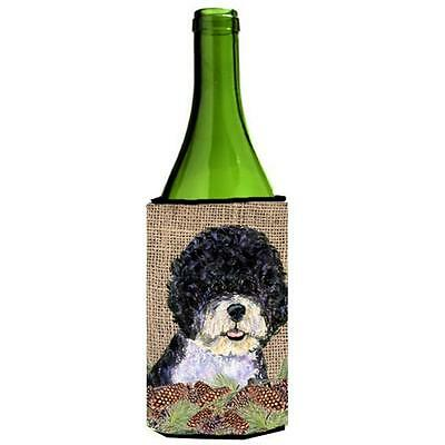 Portuguese Water Dog on Faux Burlap with Pine Cones Wine bottle sleeve Hugger...