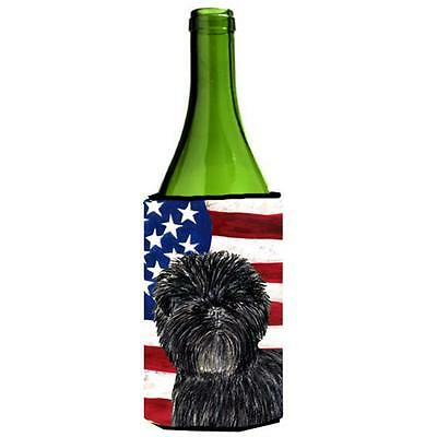 Usa American Flag With Affenpinscher Wine bottle sleeve Hugger 24 oz.