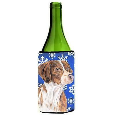 Carolines Treasures Brittany Winter Snowflakes Holiday Wine bottle sleeve Hugger