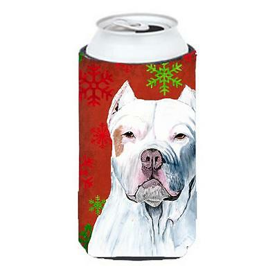Pit Bull Red and Green Snowflakes Holiday Christmas Tall Boy Hugger