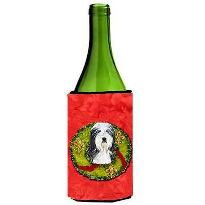 Bearded Collie Christmas Wreath Wine bottle sleeve Hugger 24 oz.
