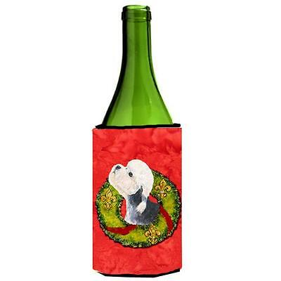 Dandie Dinmont Terrier Cristmas Wreath Wine bottle sleeve Hugger
