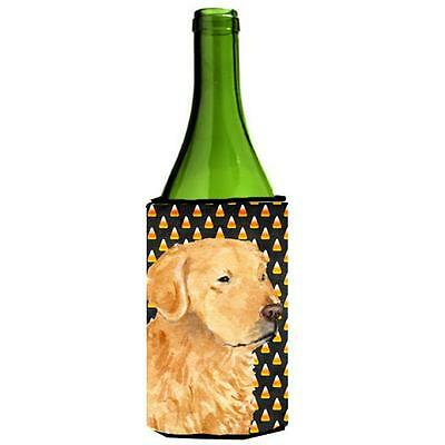 Golden Retriever Candy Corn Halloween Portrait Wine bottle sleeve Hugger 24 Oz.