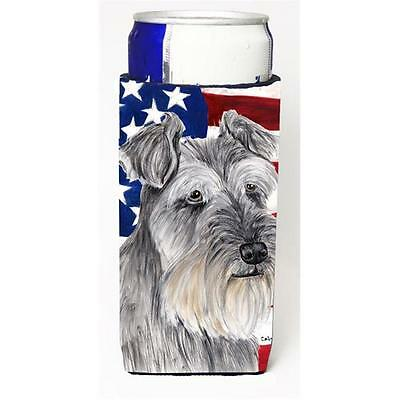 USA American Flag with Schnauzer Michelob Ultra s for slim cans