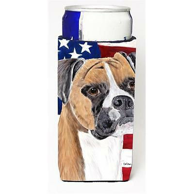 Carolines Treasures USA American Flag with Boxer Michelob Ultra s for slim cans