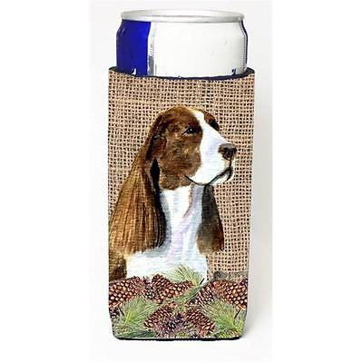 Springer Spaniel On Faux Burlap With Pine Cones Michelob Ultra bottle sleeves...