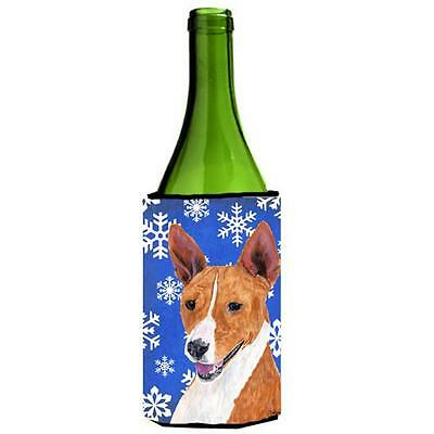 Carolines Treasures Basenji Winter Snowflakes Holiday Wine bottle sleeve Hugger
