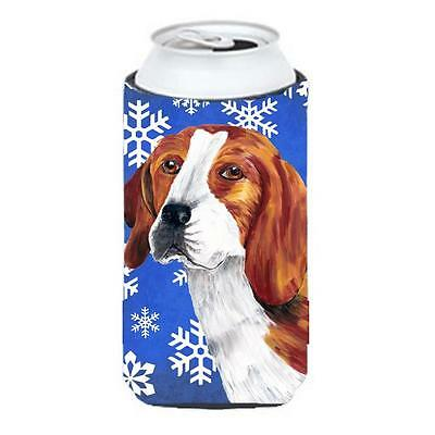 Beagle Winter Snowflakes Holiday Tall Boy bottle sleeve Hugger 22 To 24 oz.