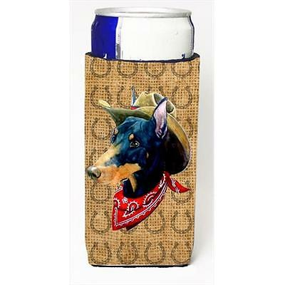 Doberman Dog Country Lucky Horseshoe Michelob Ultra bottle sleeves For Slim Cans