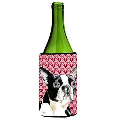 Boston Terrier Hearts Love Valentines Day Wine bottle sleeve Hugger 24 oz.