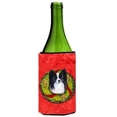 Carolines Treasures Papillon Cristmas Wreath Wine bottle sleeve Hugger