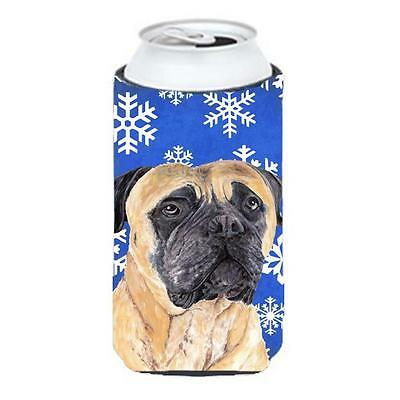 Mastiff Winter Snowflakes Holiday Tall Boy bottle sleeve Hugger