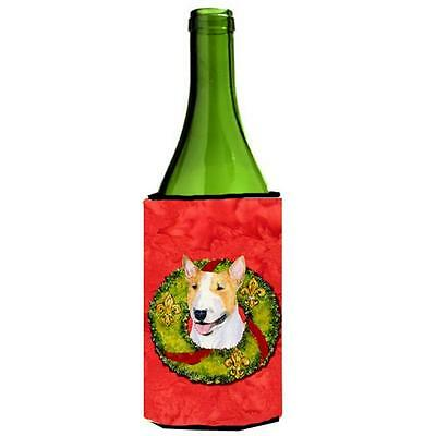 Bull Terrier Christmas Wreath Wine bottle sleeve Hugger 24 oz.