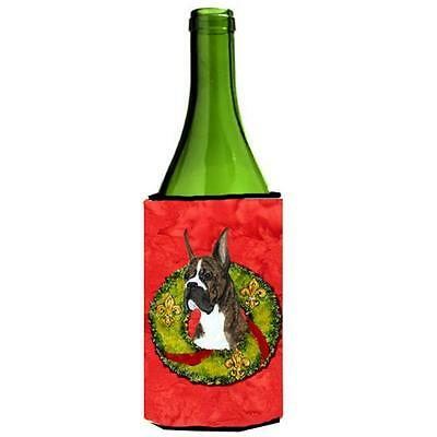 Carolines Treasures Brindle Boxer Cristmas Wreath Wine bottle sleeve Hugger