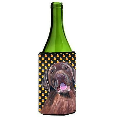 Labrador Chocolate Candy Corn Halloween Portrait Wine Bottle Hugger