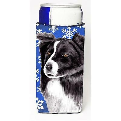 Border Collie Winter Snowflakes Holiday Michelob Ultra bottle sleeves For Sli...