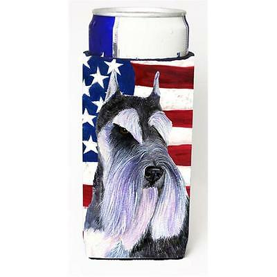 Usa American Flag With Schnauzer Michelob Ultra bottle sleeve for Slim Can