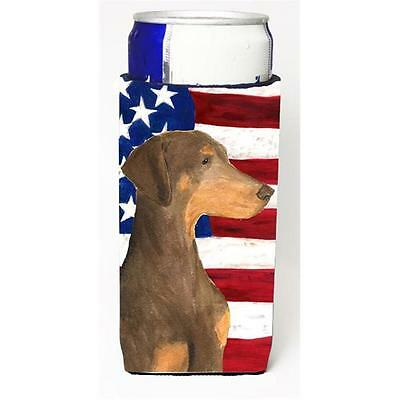 Usa American Flag With Doberman Michelob Ultra bottle sleeve for Slim Can