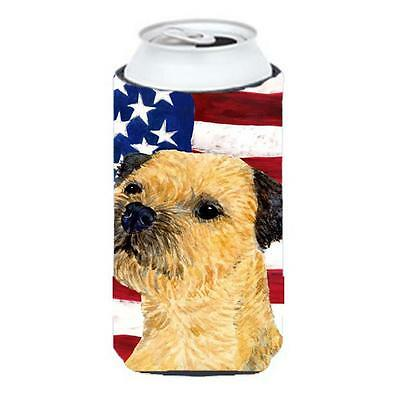 Usa American Flag With Border Terrier Tall Boy bottle sleeve Hugger 22 To 24 Oz.