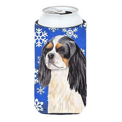 Cavalier Spaniel Winter Snowflakes Holiday Tall Boy bottle sleeve Hugger