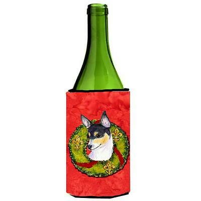 Carolines Treasures Fox Terrier Cristmas Wreath Wine bottle sleeve Hugger