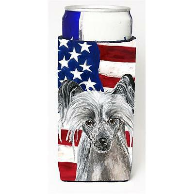 Chinese Crested Usa American Flag Michelob Ultra bottle sleeve for Slim Can