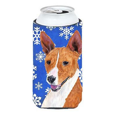 Basenji Winter Snowflakes Holiday Tall Boy bottle sleeve Hugger