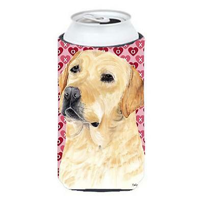 Labrador Yellow Hearts Love Valentines Day Tall Boy bottle sleeve Hugger • AUD 47.47