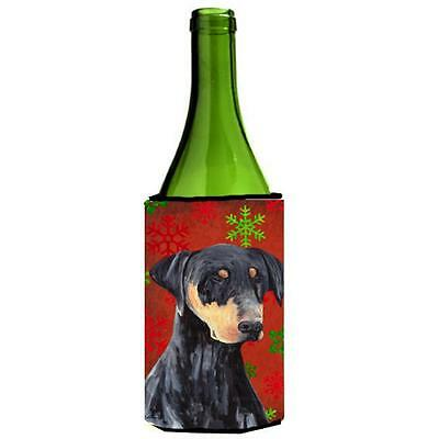 Doberman Red and Green Snowflakes Holiday Christmas Wine Bottle Hugger