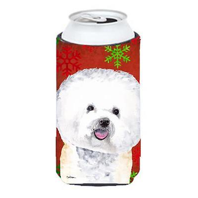 Bichon Frise Red And Green Snowflakes Holiday Christmas Tall Boy bottle sleev...