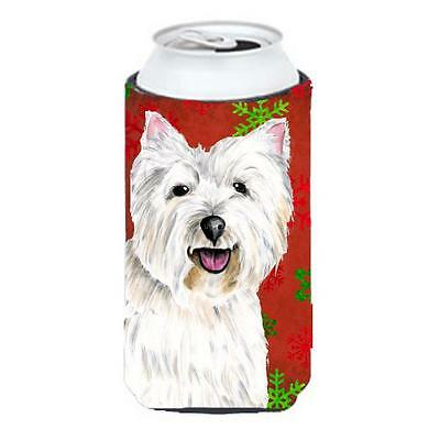 Westie Red and Green Snowflakes Holiday Christmas Tall Boy Hugger • AUD 47.47