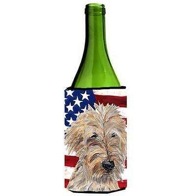 Carolines Treasures Goldendoodle Usa American Flag Wine bottle sleeve Hugger