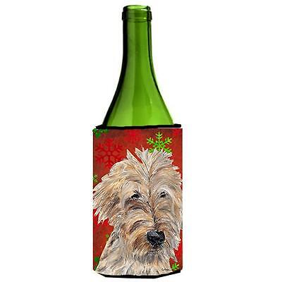 Goldendoodle Red Snowflake Christmas Wine bottle sleeve Hugger 24 oz.
