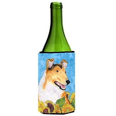 Collie Smooth In Summer Flowers Wine bottle sleeve Hugger 24 Oz.