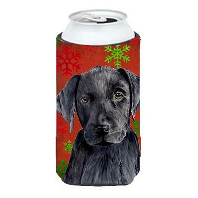 Labrador Red And Green Snowflakes Holiday Christmas Tall Boy bottle sleeve Hu...