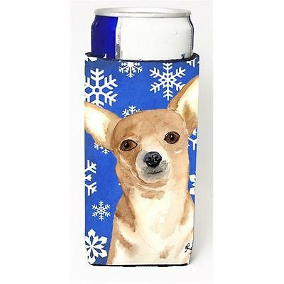 White Snowflake Chihuahua Christmas Michelob Ultra bottle sleeves for slim ca...