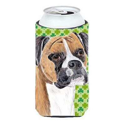 Boxer St. Patricks Day Shamrock Portrait Tall Boy bottle sleeve Hugger 22 To ...