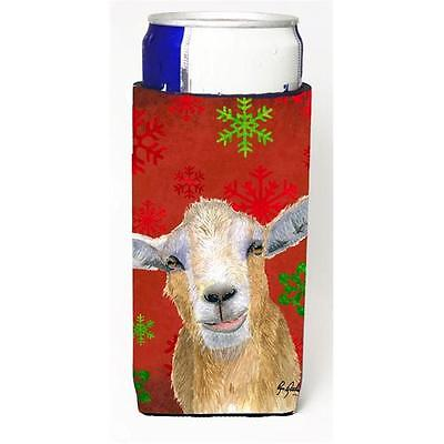 Red Snowflakes Goat Christmas Michelob Ultra bottle sleeves For Slim Cans 12 oz.