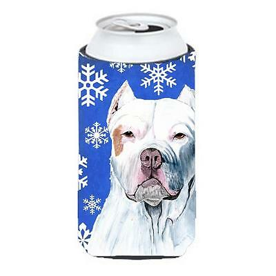 Pit Bull Winter Snowflakes Holiday Tall Boy bottle sleeve Hugger