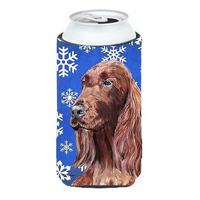 Irish Setter Blue Snowflake Winter Tall Boy bottle sleeve Hugger 22 To 24 oz.
