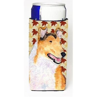 Collie Smooth Fall Leaves Portrait Michelob Ultra bottle sleeves for slim can...