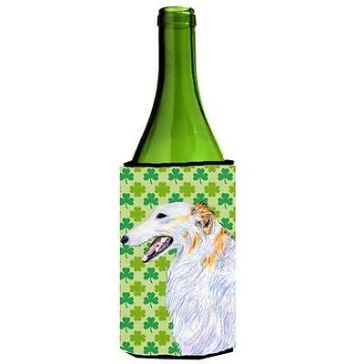 Borzoi St. Patricks Day Shamrock Portrait Wine bottle sleeve Hugger 24 oz.