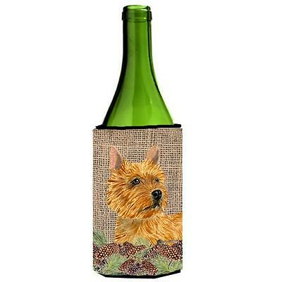 Norwich Terrier on Faux Burlap with Pine Cones Wine bottle sleeve Hugger 24 oz.