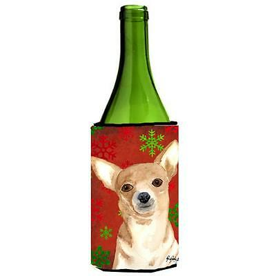 Red Snowflake Chihuahua Christmas Wine bottle sleeve Hugger 24 oz.