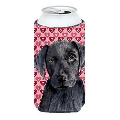 Labrador Black Hearts Love Valentines Day Tall Boy bottle sleeve Hugger 22 to...
